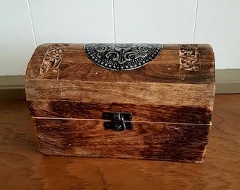 Wood Chest Trunk Trinket Keepsake Box Carved Spanish Home Decor