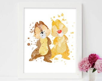 Chip and Dale disney, Chip And Dale Print, Chip And Dale Watercolor, chip and dale disney, chip and dale posters, chip and dale bed,chipmunk