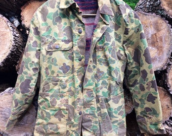 Vintage Thick Camo Jacket With Wool Interior No Tag/Maker Unknown Fits Like M USED