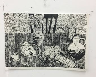 Relief Print Black and White