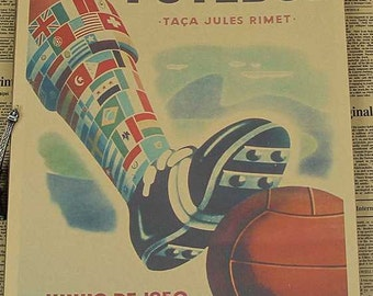 1950 Brasil World Cup Vintage Poster