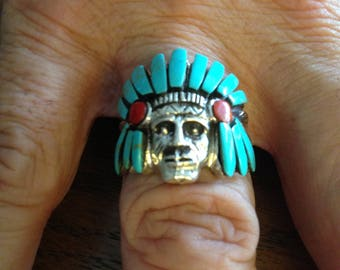 Sterling Silver Native American Turquoise and Coral Ring
