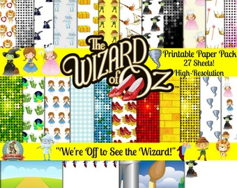 Wizard of Oz Paper 27 Sheets, Wicked Witch of the West, Dorothy, Tinman, Emerald City, Yellow Brick Road, Somewhere Over the Rainbow