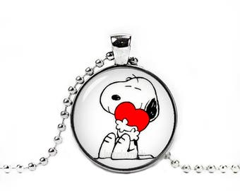 Snoopy Necklace Snoopy Heart Pendant Snoopy Peanuts Fandom Jewelry Cosplay Fangirl Fanboy