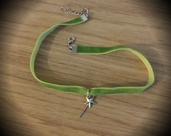 Tinkerbell Peter Pan Disney Princess Velvet Choker Necklace