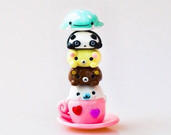 Polymer Clay San-X Inspired Magnetic Stackable Totem, Magnetic Figurines, Jinbesan, Rilakkuma, Mamegoma, Korilakkuma, Tarepanda