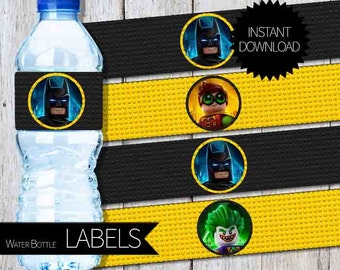Batman LEGO Birthday Party PRINTABLE Water Bottle Labels- Instant Download | The LEGO Batman Movie