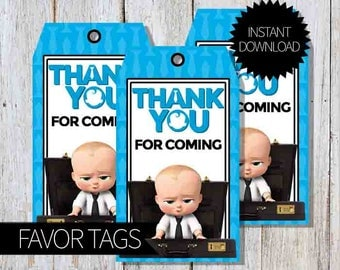 BOSS Baby Birthday Party PRINTABLE Favor Tags- Instant Download | DreamWorks | The Boss Baby Movie