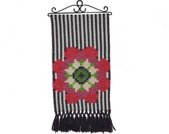 Adorable vintage retro Wall hanging with handembroidered Flower with sparkling effects. Made in Sweden Scandinavian.