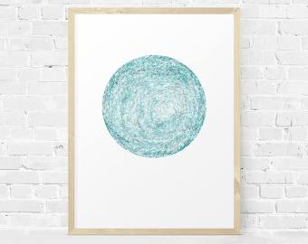 Watercolor Print, Coastal Decor, Turquoise Print, Blue Green Printable, Modern Wall Art, Minimalist, Circle Print, Instant Download