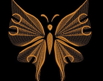 Gold Rippled butterfly embroidery design-Butterfly machine embroidery design-Rippled-Instant download