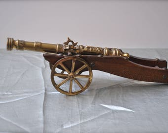 Vintage Miniature Brass Cannon Made in Holland