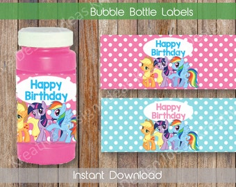 My Little Pony Bubble Bottle Labels Bubble Bottle Labels or Stickers My Little Pony Party Printables Theme Birthday Party - INSTANT DOWNLOAD