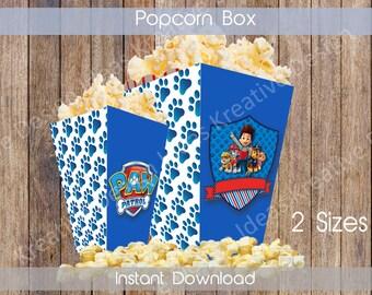 Paw Patrol Big Popcorn Box Printable Paw Patrol Popcorn Box Paw Patrol Birthday Theme Paw Patrol 2 Sizes INSTANT DOWNLOAD