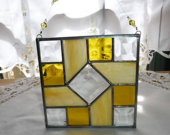 Stained Glass with Bevels Quilt Block Suncatchers