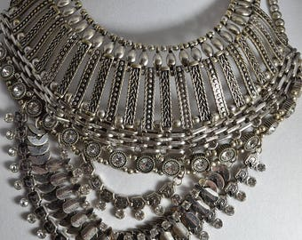 Egyptian Cleopatra statement necklace choker mogul runway bold silver tone rhinestone/Offered by poshparagons for you or to give as a gift