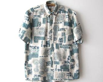 Vintage Mens Summer Shirt Linen Blend Viscose Shirt Medium Size Mens Shirt Short Sleeve Button Up Shirt Patterned Dress Shirt