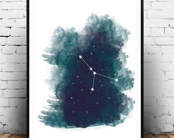 Zodiac Print, Astrology, Cancer, Print, Art, Cancer Zodiac Art Print, Cancer Art Poster, Zodiac Art Poster Print