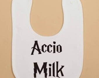 Harry Potter Accio Milk Hogwarts baby bib.
