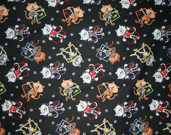 Timeless Treasures X-Ray Cats Cotton Fabric - By the Yard