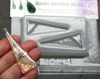 """1 Resin Mold, Triangles - 2 Cavity - Resin, Polymer Clay, Jewelry Mold 3.5""""X4.5"""", SZS1269"""