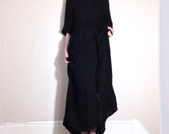 1970s crepe quilted gothic romantic victorianna grunge maxi dress Size 10