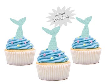 Mermaid Cupcake Toppers-Printable-Instant Download-Birthday Party-Under The Sea-Pool Party