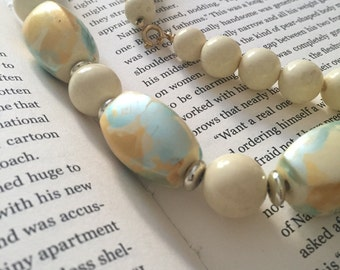 Pastel wooden beaded necklace