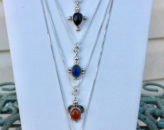 USA FREE Shipping- Sterling Silver Necklaces with Gemstone Pendents
