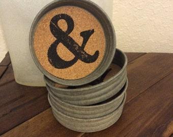 Rustic Mason Jar Lid Ampersand Coasters (set of 4)