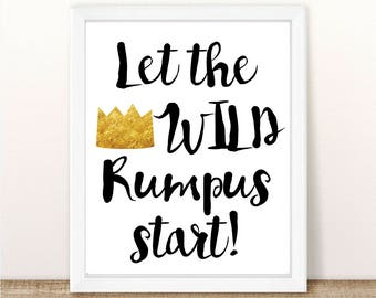 Let The Wild Rumpus Start Printable, Where the Wild Things Are, Wild Rumpus Print, Wild Things Birthday, Party, Wild Things Shower, 8x10""