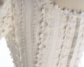 Vintage 1960s Column Wedding Dress Bohemian Boho Gown White Floral ~ Daisy Applique Bubble ~ The Jenny Dress ~ XS/S