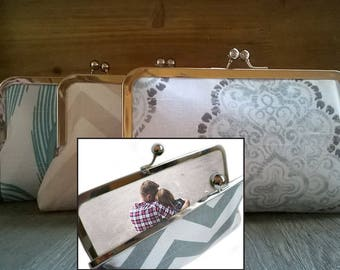 Custom Photo Bridesmaid Clutch Personalized Gifts, Pink, Grey, Yellow, Navy, Aqua, Green, Ivory, Blue