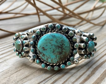 Turquoise and Sterling Silver Cuff | Native American Jewelry | western jewelry | bohemian jewelry | petit point | cowgirl | rodeo wear