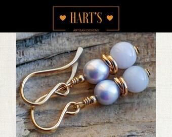 Blue Lace Agate Pearl 14K Gold Earrings
