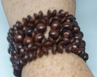 Vintage wooden large bangle style bracelet free gift pouch and uk shipping