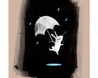 Rainy Rabbit A4 giclée print