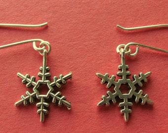 Stocking Stuffer Tibetan Silver Plated Snowflake Earrings, Silver Earrings, Snowflake Earrings, Gift, Christmas, Women, Teenq