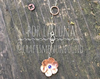 Sterling and Copper Flower Lariat Necklace