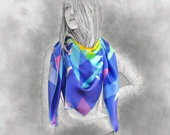 CENTER silk scarf, rainbow scarf, silk shawl, colorful scarf, gift for her, multicolor scarf, shawl, long scarf, printed silk scarf