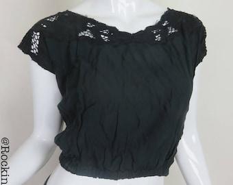 Black Shirt with Lace Back Crop Top Short Sleeve Summer Shirt