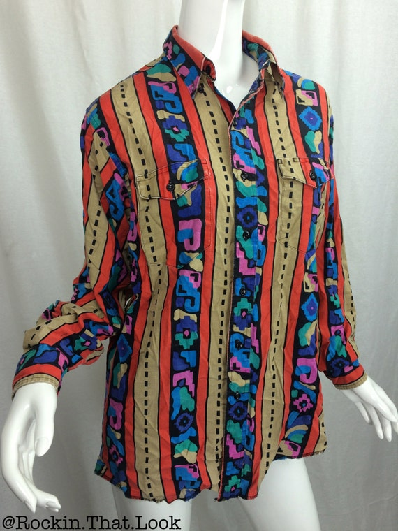 80 39 S Button Up Long Sleeve Shirt Multi Colored With Two