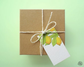 6 Gift Tags with strings - Lemon // Label, Card, Birthday, Kitchen, Foodie, Wine Label, Jam Label, Blank, Yellow, Green