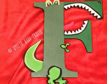 Custom handmade dinosaur letter for nursery or boys' bedroom