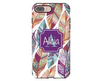 iPhone 7 Plus case, feathers iPhone 7 case, purple monogram iPhone case, iPhone SE case, iPhone 6s case, iPhone 6s Plus case, 3D iPhone case