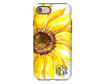 Monogram iPhone 7 case, sunflower iPhone 7 Plus case, sunflower iPhone 6s/6s plus case, iPhone SE case, iPhone 6 Plus case/6 case monogram