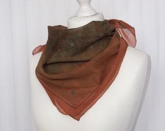 """vintage Square scarf, retro scarf, silk scarf, fabric women scarf shawl 74x74cm / 29x29"""" brown copper"""