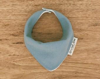 Linen Bandana bib - Blue