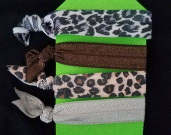 Animal print hair tie set of 4