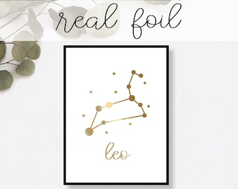 Leo Constellation Print // Real Gold Foil // Minimal // Gold Foil Art Print // Home Decor // Modern Print // Typography // Fashion Print
